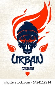 Urban culture style skull in sunglasses vector logo or emblem, gangster or thug illustration, anarchy chaos hooligan, ghetto theme.