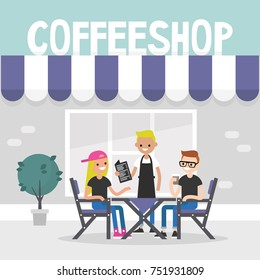 Urban daily life. Restaurant visitors. Two characters ordering food and drinks in a coffee shop, flat editable vector illustration, clip art