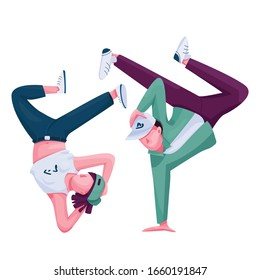 Urban dancers flat color vector faceless character. Breakdance performance, b boying show. Hip hop contemporary dance performers isolated cartoon illustration for web graphic design and animation