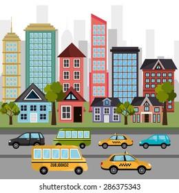 Urban design over cityscape background, vector illustration.