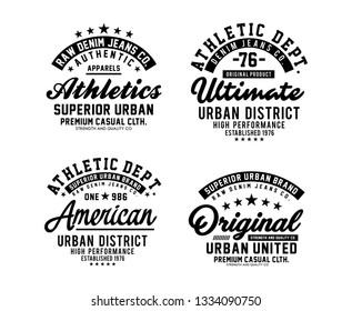 Urban district typography designs, badges set for t-shirt print and other uses. Varsity style design graphics.