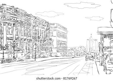 urban doodle sketch. vector