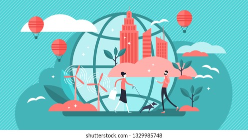 Urban ecology vector illustration. Flat tiny green environment persons concept. Modern city with sustainable, alternative wind energy and fresh air. Recycle and renewable resources. Global town future