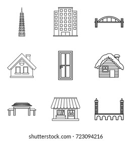 Urban edifice icons set. Outline set of 9 urban edifice vector icons for web isolated on white background