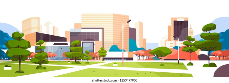 urban empty city park pathway skyscraper buildings view modern cityscape downtown horizontal banner flat