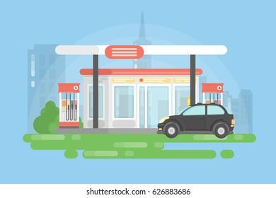 Urban gas station. Simple landscape background and black car.