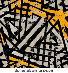 urban geometric seamless pattern with grunge effect