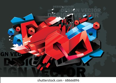urban graffit 3d vector