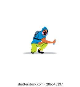 Urban graffiti Boy sign. Vector Illustration. Branding Identity Corporate logo design template Isolated on a white background