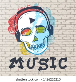 Urban grunge styled street painting. Abstract background, brick wall painted with spots of different colors, a scull with headphones and music graffitti vector illustration.