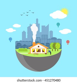 Urban home earth concept. Vector illustration for global design. Flat cartoon style. City building planet. Skyscraper world on blue sky background Real estate city infrastructure Modern district scene