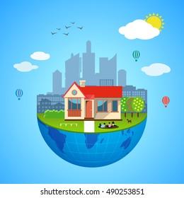 Urban home earth vector concept