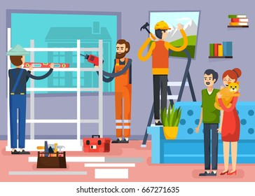 Urban home renovation flat composition poster with carpenters construction workers and apartment owners with pet vector illustration