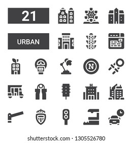 urban icon set. Collection of 21 filled urban icons included Parking, Train station, Traffic light, Monaco, Skyscraper, Hotel, Grip, Tuk tuk, Hand grip, Napoli, Desk lamp, Parking meter