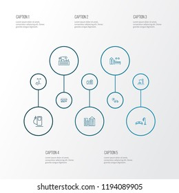 Urban icons line style set with bicycle parking, building, construction zone and other factory elements. Isolated vector illustration urban icons.
