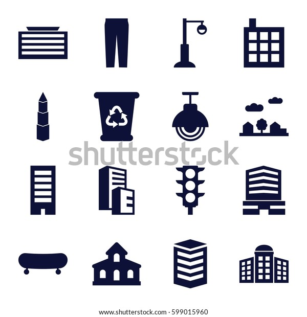 urban icons set. Set of 16 urban filled icons such as building, building   isolated  sign symbol, business center building, recycle bin, pants, business center, street lamp