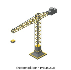 Urban industrial isometric 3d architectural flat plan. Three-dimensional crane drawings and construction plans