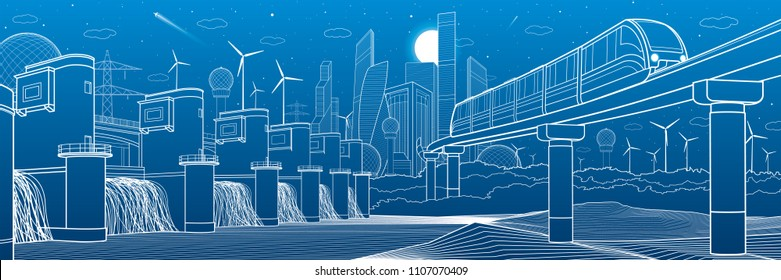 Urban infrastructure and transport illustration. Monorail bridge across the mountains. Modern city at background. Hydroelectric power station. White lines on blue background. Vector design art