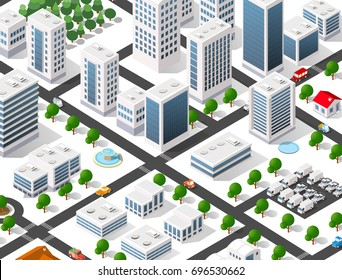 Urban Isometric area of the city infrastructure with transport, streets, houses and trees