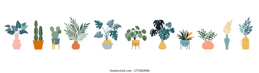 Urban jungle, trendy home decor with plants, cacti, tropical leaves in stylish planters and pots. Vector illustration