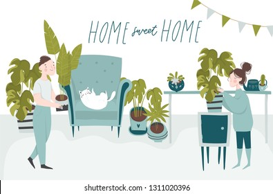 Urban jungle vector illustration concept. Trendy house decor with plants, cat, cacti, tropical leaves and people. Sweet home hand drawn lettering qoute. Boy and girl in apartment
