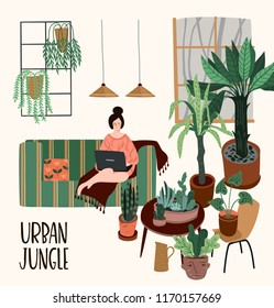 Urban Jungle. Vector illustration with trendy home decor. Houseplants, tropical leaves. Design elements.