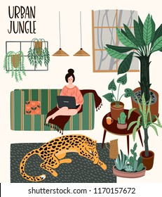 Urban Jungle. Vector illustration with trendy home decor. Houseplants, tropical leaves, leopard