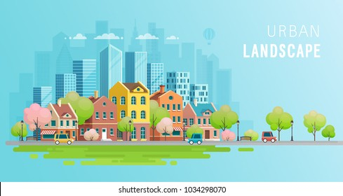 Urban landscape background.Vector illustration.