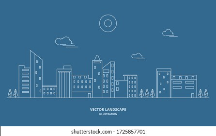 Urban landscape with building and tree. Cityscape vector. Thin line style illustration.