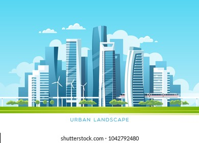 Urban landscape with buildings, skyscrapers and subway. Real estate and construction industry concept. Vector illustration.