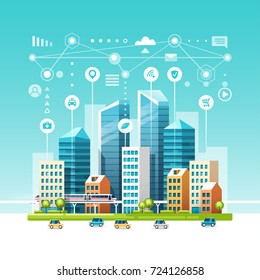 Urban landscape with buildings, skyscrapers and transport traffic. Concept of smart city with different icons. Vector illustration.