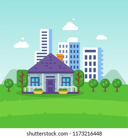Urban landscape, city life eco friendly, house building, skyscrapers. Clean ecology, environment, eco friendly energy, products. Use natural products, careful attitude to nature. Vector illustration