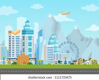 Urban landscape with city and suburb, buildings, skyscrapers and private houses on a background mountains and hills. Vector illustration