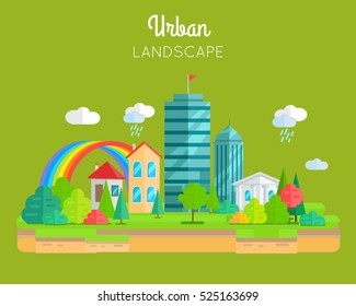 Urban landscape conceptual vector in flat design. Variety city buildings skyscraper, cottage, house, with trees, brunches and rainbow. Illustration for real estate, greening, weather concepts.