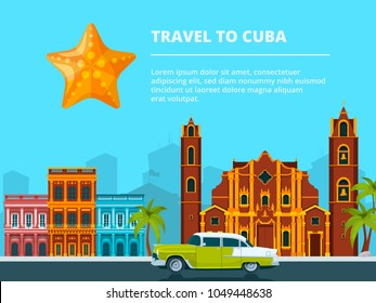 Urban landscape of cuba. Different historical symbols and landmarks. Travel and tourism, cityscape cuba, building city and landscape urban. Vector illustration