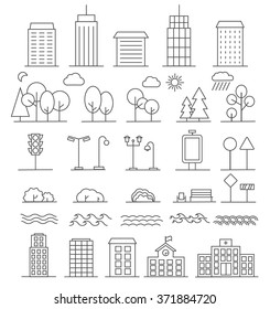 Urban landscape design elements set in linear style, include line buildings, trees, bushes, bench, tower building, water waves, sun, moon, school building,  clouds, traffic signs.  vector illustration