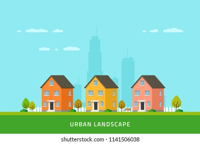 Urban landscape, downtown street with townhouses, urban and suburban modern buildings. Real estate concept banner. Flat style illustration.
