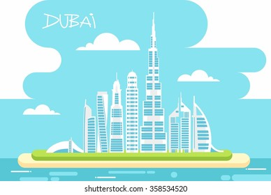 The urban landscape of Dubai with blue sky. Vector illustration. Urban background. Quality design illustrations, elements and concept.