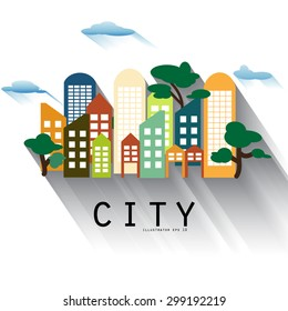 Urban landscape in flat design with balloon and cloud welcome city Vector illustration in modern colors.