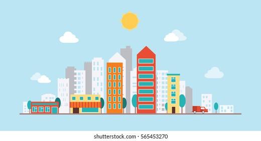 Urban landscape flat illustration with mall.