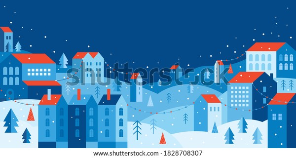 Urban landscape in a geometric minimal flat style. New year and Christmas winter city among snowdrifts, falling snow, trees and festive garlands. Abstract horizontal banner with space for the text.