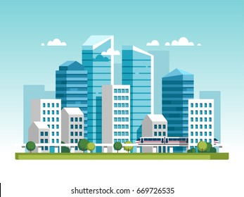 Urban landscape with high skyscrapers and subway. Vector illustration.