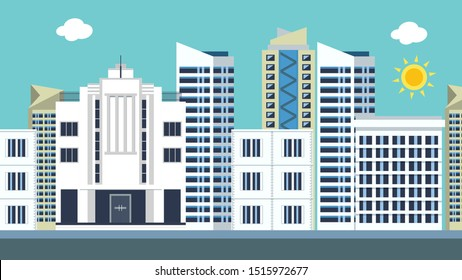 Urban landscape with houses, market, and shop.Cityscape with highway street.Vector illustration. Vector City Roads. This is a flat illustration with beautiful buildings and cloud.
