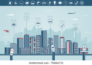 Urban landscape with infographic elements. Modern city. Smart city. Concept website template. Vector illustration