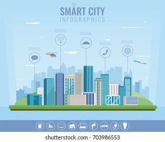 Urban landscape with infographic elements. Smart city. Modern city. Concept website tamplate. Vector