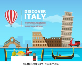 Urban landscape of Italy Rome. Historical architectural objects and symbols. Vector architecture italy landscape illustration