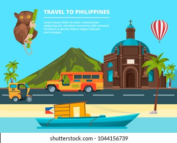 Urban landscape with Landmarks of Philippines. Banner journey and trip philippines, traditional landmark and tourism. Vector illustration