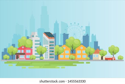Urban landscape with large modern buildings and suburb with private houses on a background mountains and hills. Street, highway with cars. Concept city and suburban life. Vector illustration.