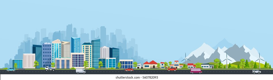 Urban landscape with large modern buildings and suburb with private houses on a background mountains and hills. Street, highway with cars. Concept city and suburban life.