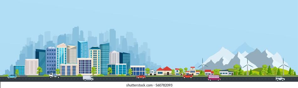 Городской пейзаж с большими современными зданиями и пригород с частными домами на фоне гор и холмов. Улица, шоссе с машинами. Концепция города и пригородной жизни.